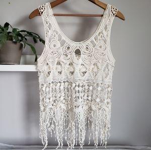 Breeze Ever Boho Crochet Sleeveless Tank Top Sz S